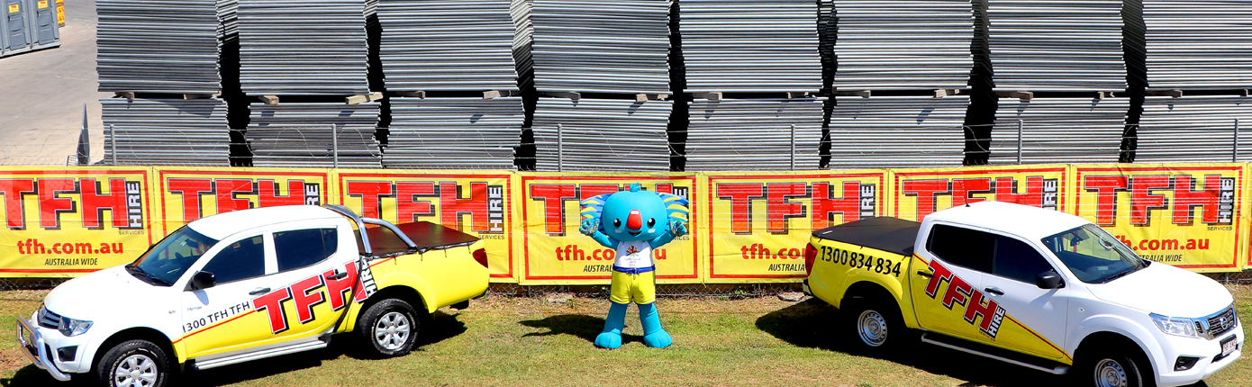Borobi posing outside TFH Hire Services Head Office in Logan, Queensland.