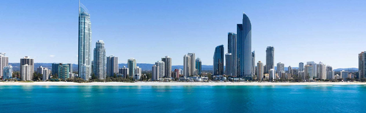 Gold Coast skyline view from the ocean