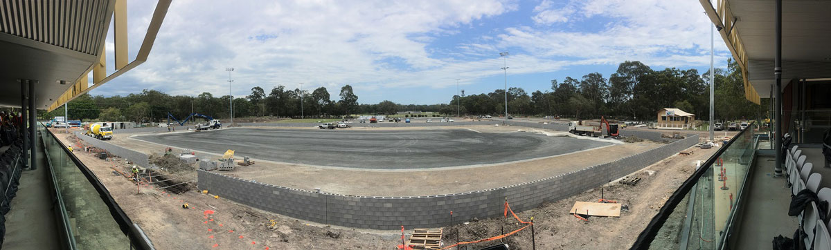 The view of Gold Coast Hockey Centre under construction