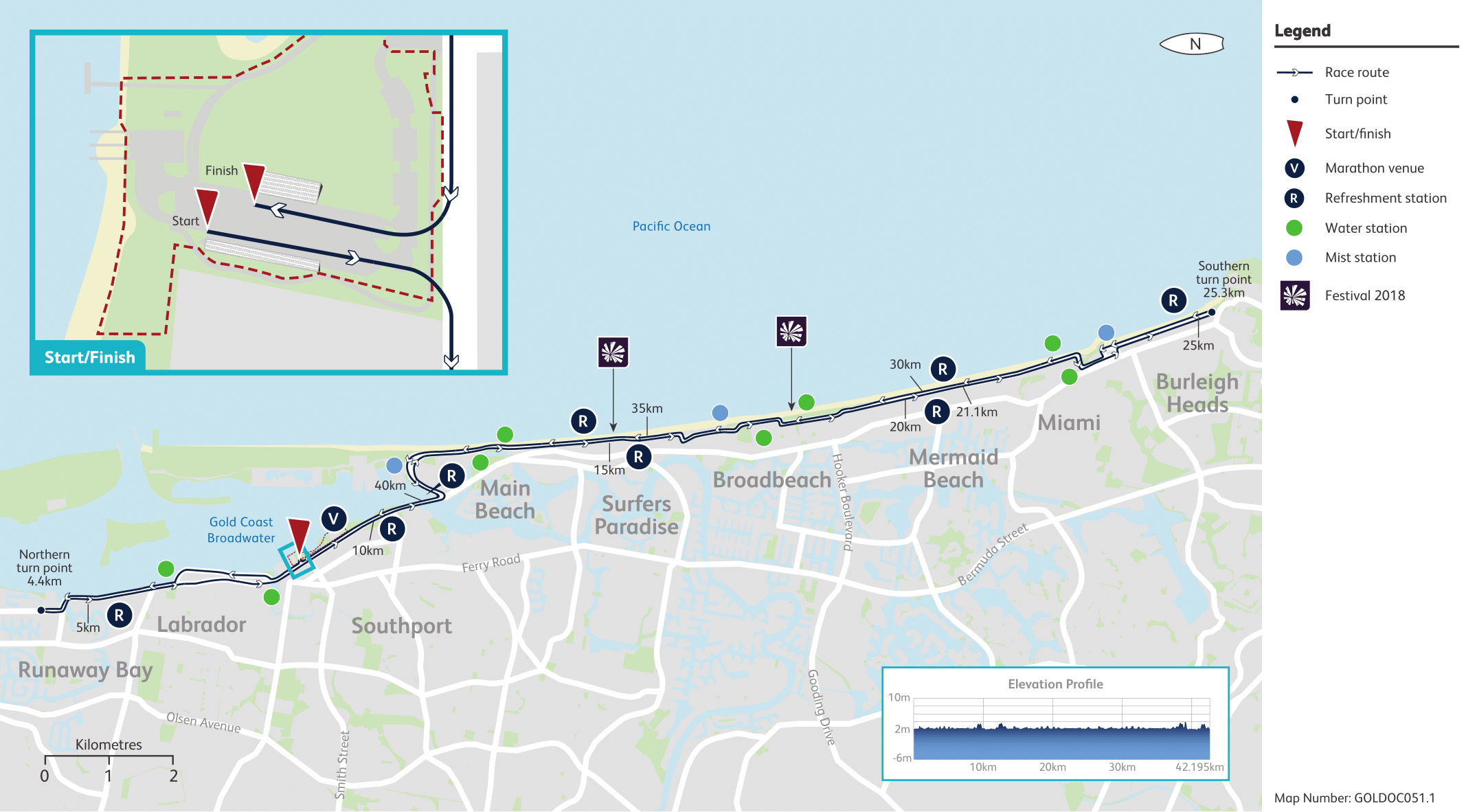 Map of GC2018 42.195km marathon course. Start Mitchell Park, head west, Right onto Gold Coast Highway, Right onto Marine Parade, head north, Right onto Gold Coast Highway, Right onto Marine Parade, head north, Right onto Bayview Street, Left U-Turn at Broadwater Street (4.4km), the northern turn point, head south on Bayview St, Left onto Marine Parade, head south. Left onto Gold Coast Highway, continue south past the Southport Broadwater Parklands and over the Southport Bridge, Left onto Waterways Drive, Right onto Main Beach Parade, continue south along Main Beach Parade, Left onto Higman Street, Right onto Esplanade, head south, continue south onto Northcliffe Terrace and Garfield Terrace, Right onto Fern Street, Left onto Old Burleigh Road. Left onto Armrick Avenue, Right onto Broadbeach Boulevard, Right onto Queensland Avenue, Left onto Old Burleigh Road, head south, continue south onto Hedges Avenue, continue south onto Albatross Avenue, continue south onto Marine Parade, Right onto Hythe Street, Left onto Gold Coast Highway, Left onto Kratzmann Avenue, Right onto The Esplanade, head south. Left into Justins Park car park, the southern turn point (25.3km), Right onto The Esplanade, head north, Left onto Kelly Avenue, Right onto Gold Coast Highway, Right on Hythe Street, Left onto Marine Parade, continue north onto Albatross Avenue, continue north onto Hedges Avenue, continue north onto Old Burleigh Road, Right onto Queensland Avenue, Left onto Broadbeach Boulevard, Left onto First Avenue, Right onto Old Burleigh Road, head north. Right onto Fern Street, Left onto Garfield Terrace, continue north onto Northcliffe Terrace and Esplanade, continue north onto Main Beach Parade, head north, continue north onto Macarthur Parade, Left onto Waterways Drive, Right onto Gold Coast Highway and over the Southport Bridge, continue north past the Southport Broadwater Parklands, Right into Mitchell Park to the Finish