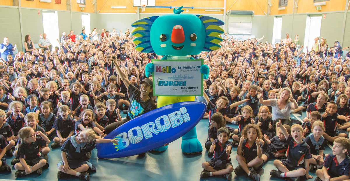 Borobi with a lare group of school students