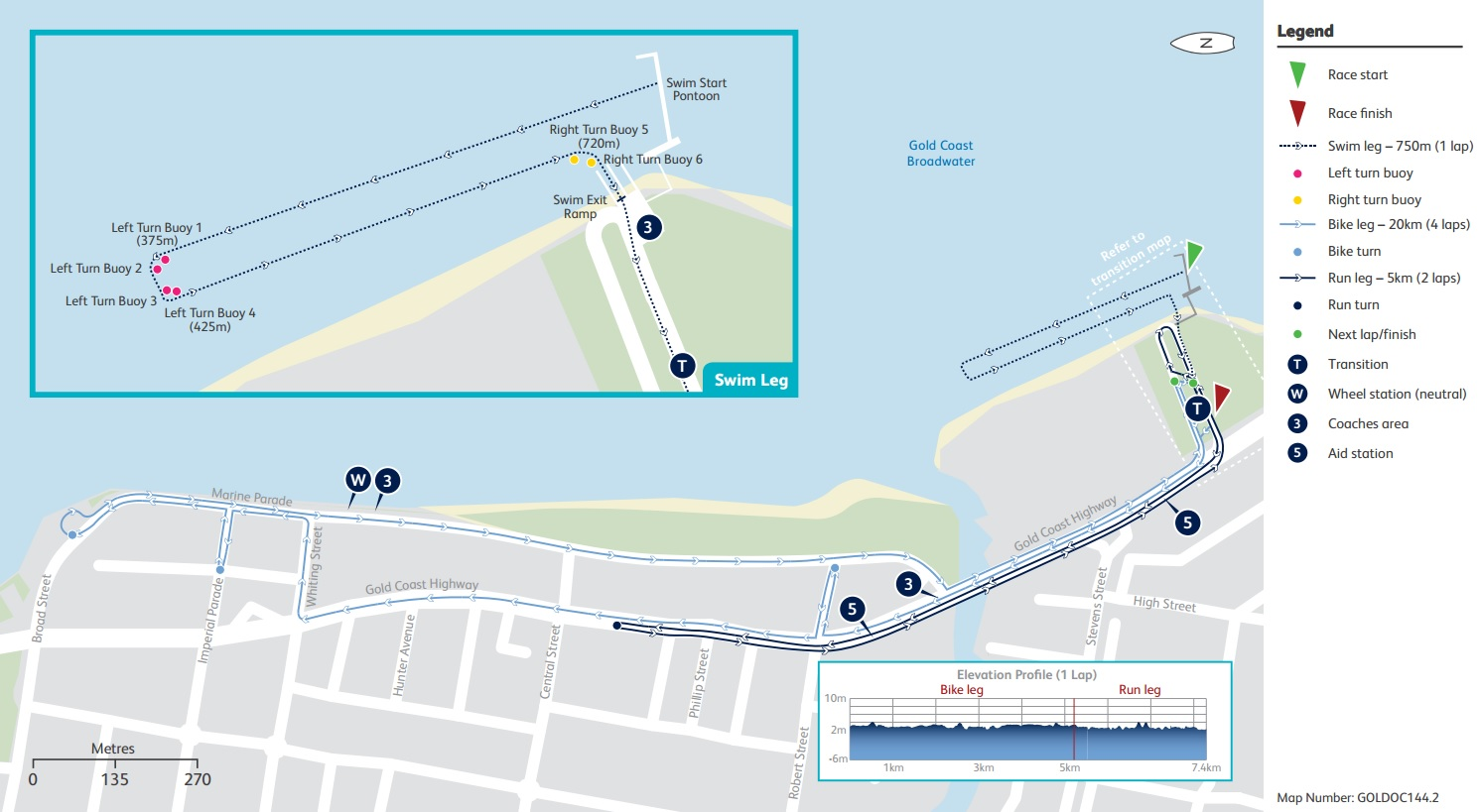 Triathlon course map