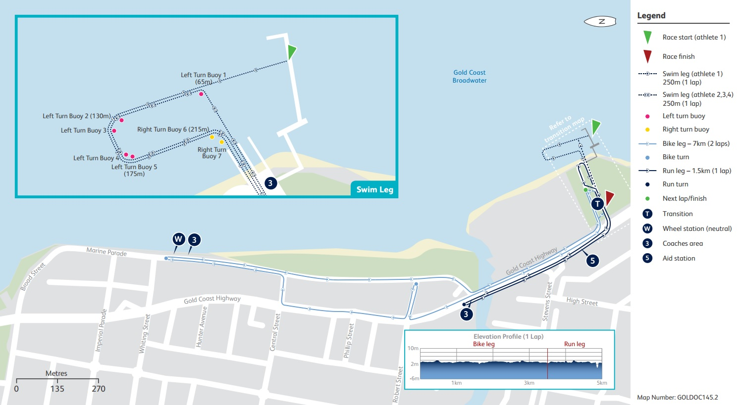 Mixed Team Relay Triathlon course map