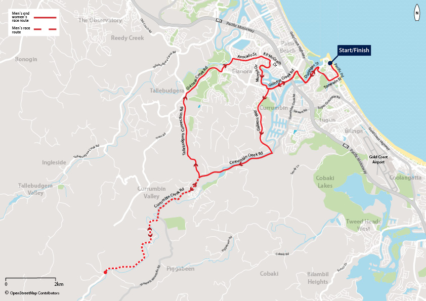 Map of GC2018 Time Trial Course. Women's 24.5 km Course; Start Pacific Pde, head south, Right onto Tomewin St, Right onto Gold Coast Highway, Left onto Duringan St, Right onto Thrower Dr, Left onto Guineas Creek Rd, Left onto Galleon Way, Right onto Currumbin Creek Rd, Right onto Tallebudgera Connection Rd, Right onto Guineas Creek Rd, Left onto Nineteenth Ave, Right onto Avocado Ave, Right onto KP McGrath Dr, Right onto Murtha Dr, Left onto Guineas Creek Rd, Right onto Thrower Dr, Left onto Duringan St, Right onto Gold Coast Highway, Left onto Tomewin St, Left onto Pacific Pde, Finish Pacific Pde. Men's 37.8km Course; Start Pacific Pde, head south, Right onto Tomewin St, Right onto Gold Coast Highway, Left onto Duringan St, Right onto Thrower Dr, Left onto Guineas Creek Rd, Left onto Galleon Way, Right onto Currumbin Creek Rd, Turn around at Currumbin Roack Pools, Left onto Tallebudgera Connection Rd, Right onto Guineas Creek Rd, Left onto Nineteenth Ave, Right onto Avocado Ave, Right onto KP McGrath Dr, Right onto Murtha Dr, Left onto Guineas Creek Rd, Right onto Thrower Dr, Left onto Duringan St, Right onto Gold Coast Highway, Left onto Tomewin St, Left onto Pacific Pde, Finish Pacific Pde.
