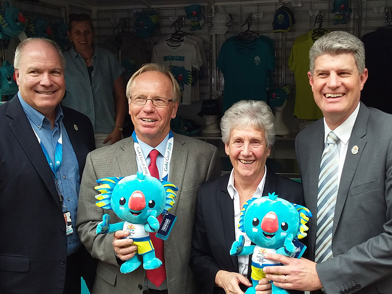 From left: Mr Peters, Mr Beattie AC, Ms Martin and Mr Robertson holding Borobi plush toys