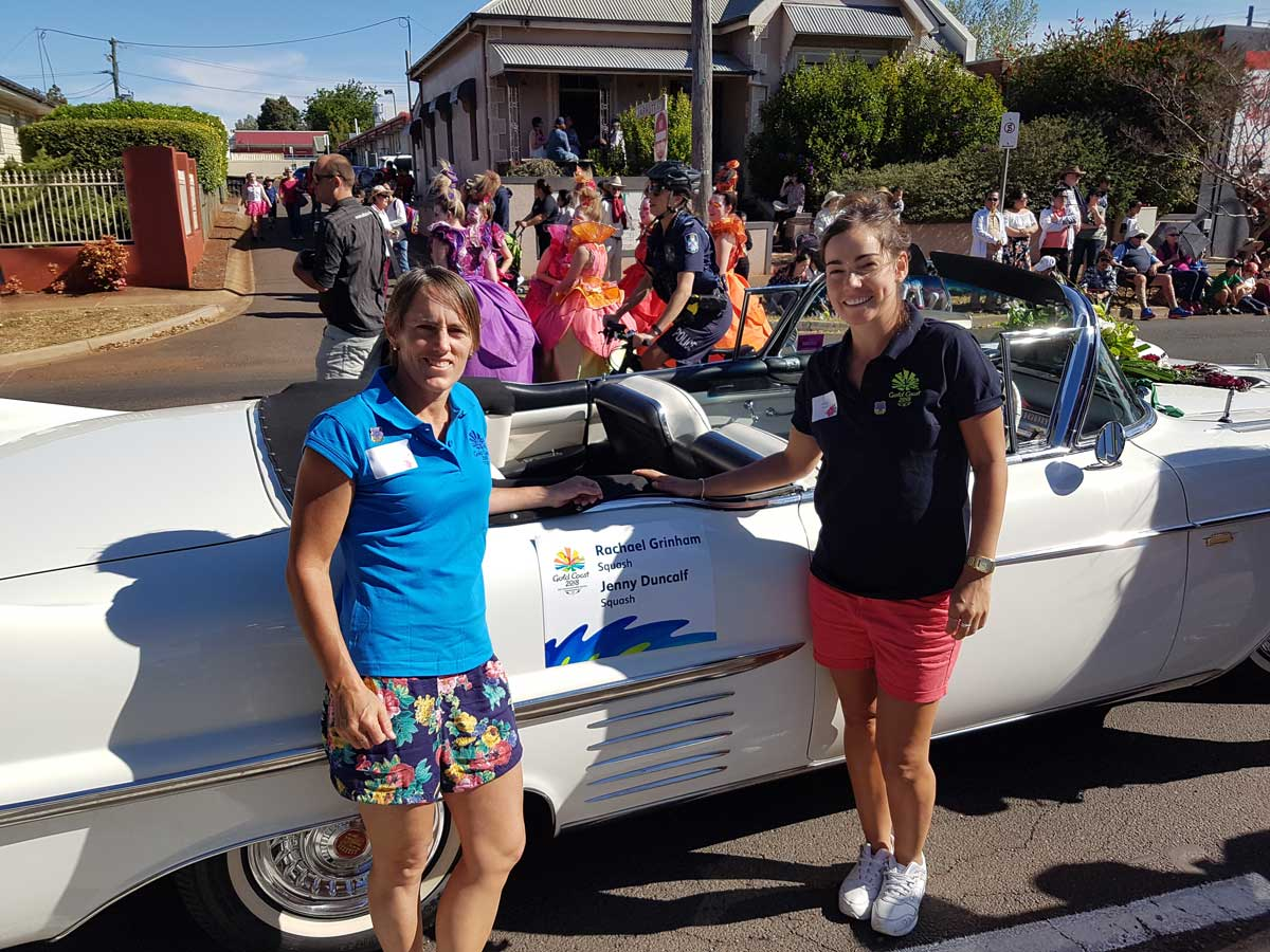 Rachael Grinham and Jenny Duncalf celebrating 200 Days to go to GC2018 at the Toowoomba Carnival of Flowers