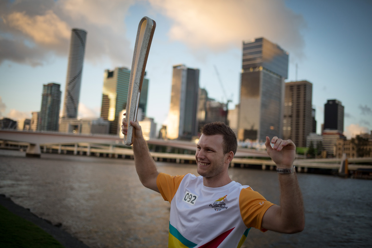 Jeff Horn carries the Queen's Baton
