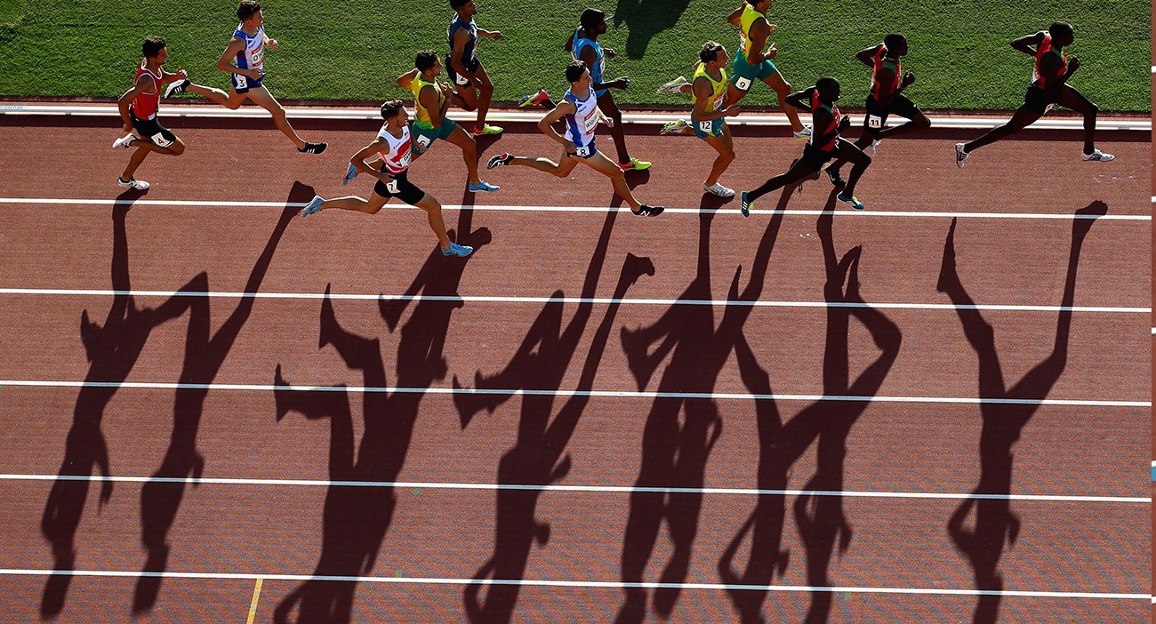 Athletes compete in the Men's 1500 metres final during athletics on day 10 of the Gold Coast 2018 Commonwealth Games