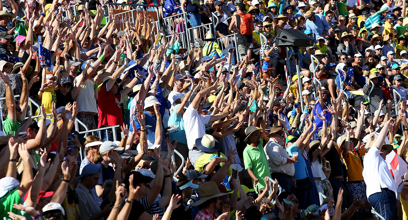 Australian fans do the 'rollercoaster' at Carrara Stadium