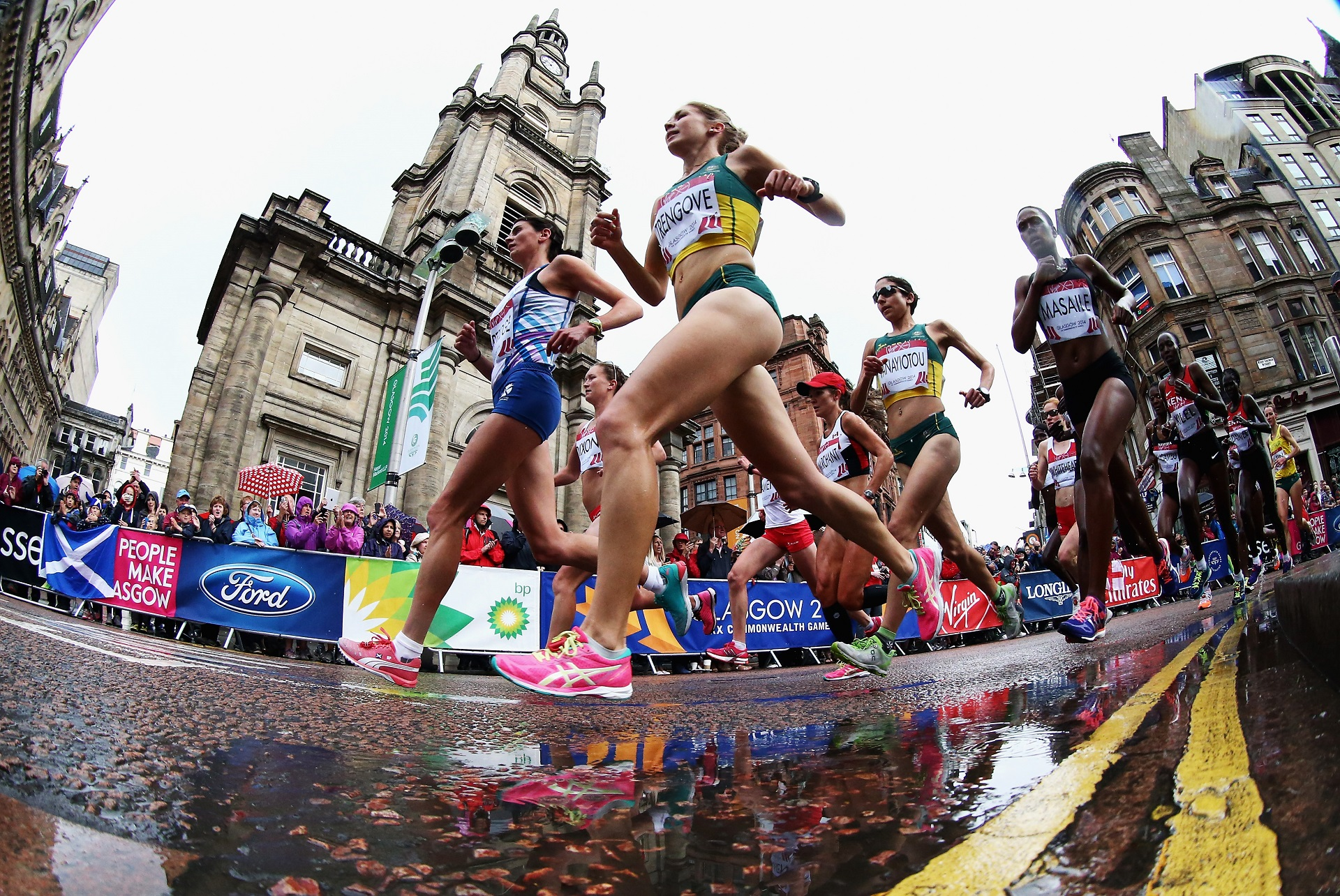 Australia's Jessica Trengove and Scotland's Susan Partridge lead the field in the women's Marathon at the Glasgow 2014 Commonwealth Games