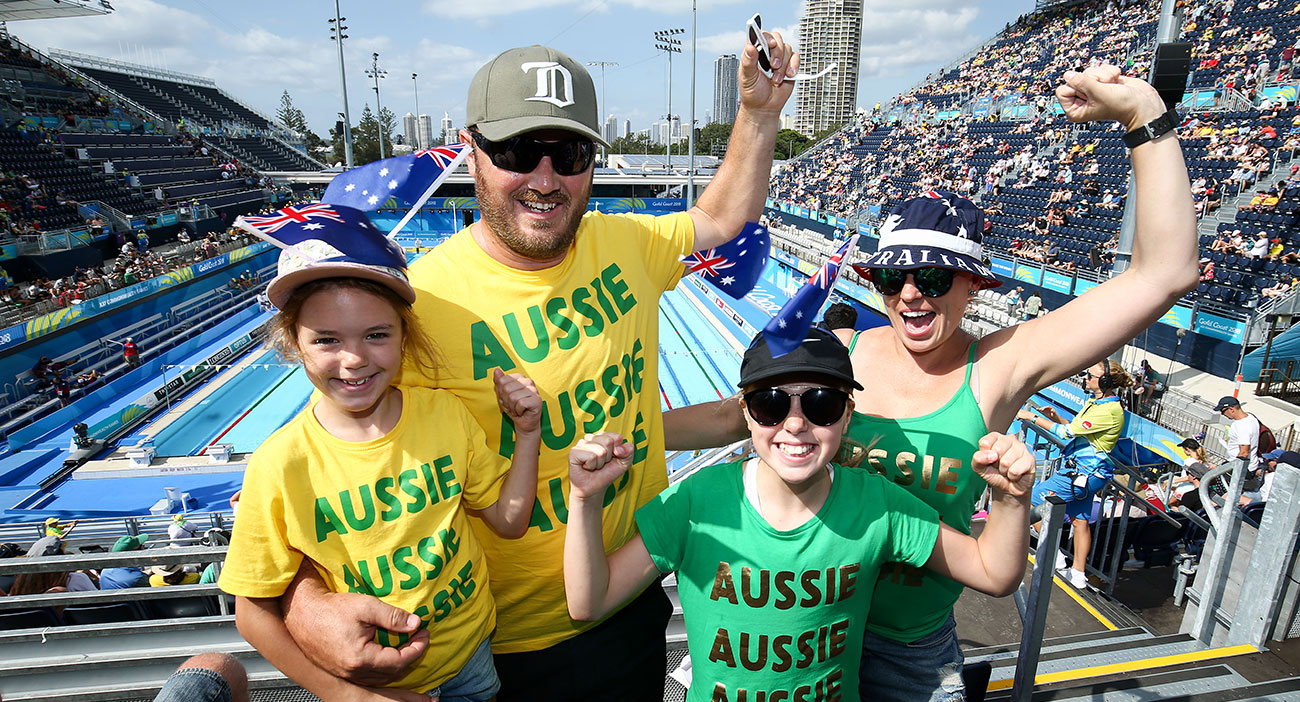 Australian fans at the Swimming