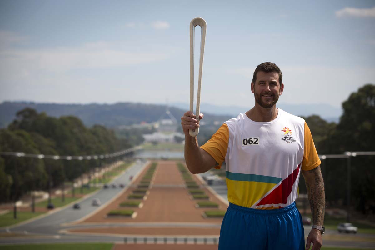3b7e08eef4b7b2 Ben Roberts-Smith VC at the Australian War Memorial in Canberra carrying  the Queen's Baton