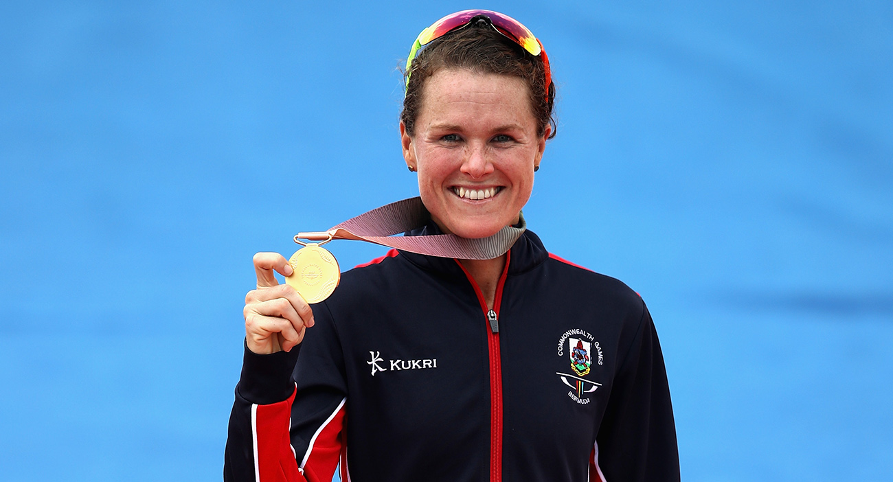 Flora Duffy holds the first gold medal of the Gold Coast 2018 Commonwealth Games.