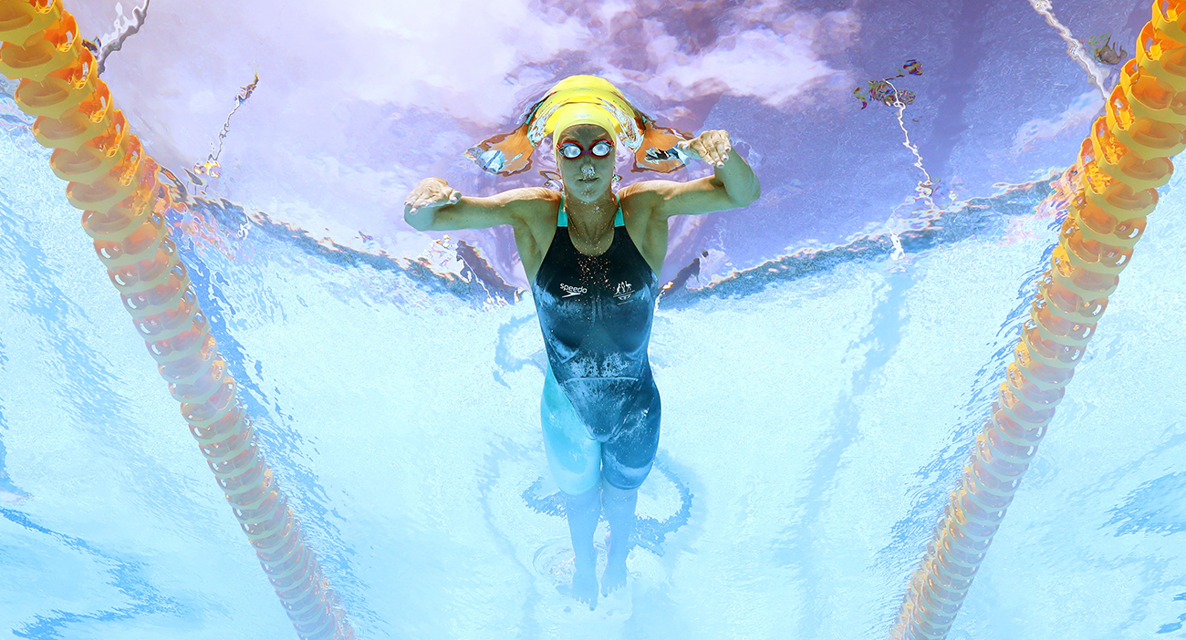 Australia's Emma-Mckeon competes during the women's 100m Butterfly.