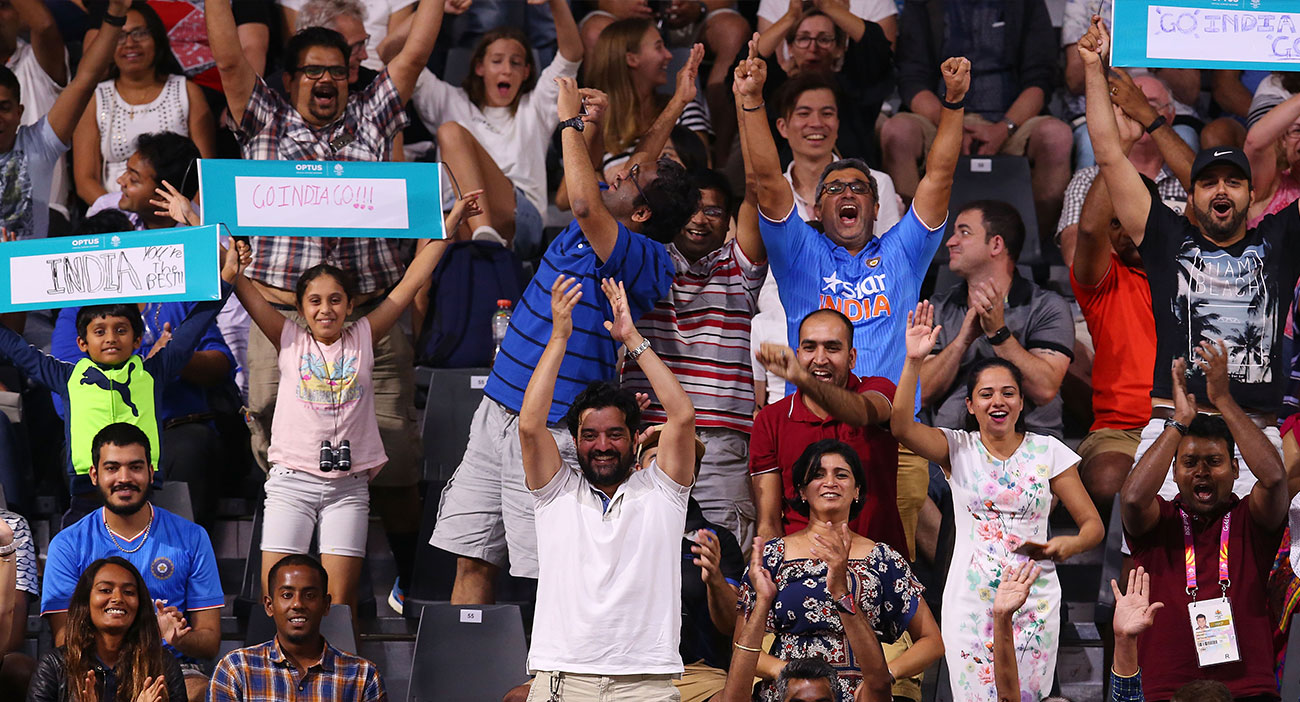 Fans cheer on India