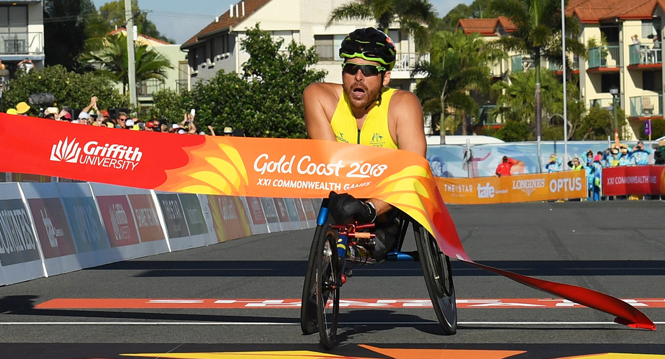Kurt Fearnley wins the Marathon.