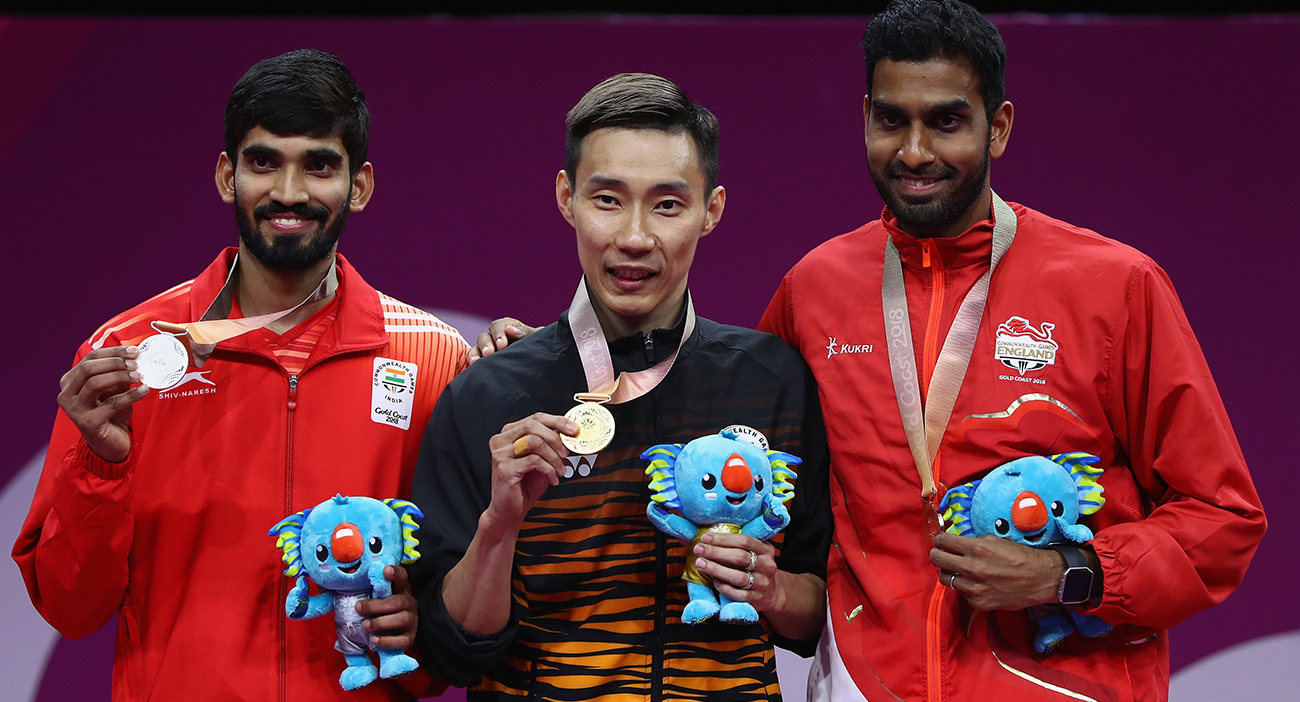 Gold medalist Lee Chong Wei of Malaysia, silver medalist Srikanth Kidambi of India and bronze medalist in the men's singles Rajiv Ouseph of England