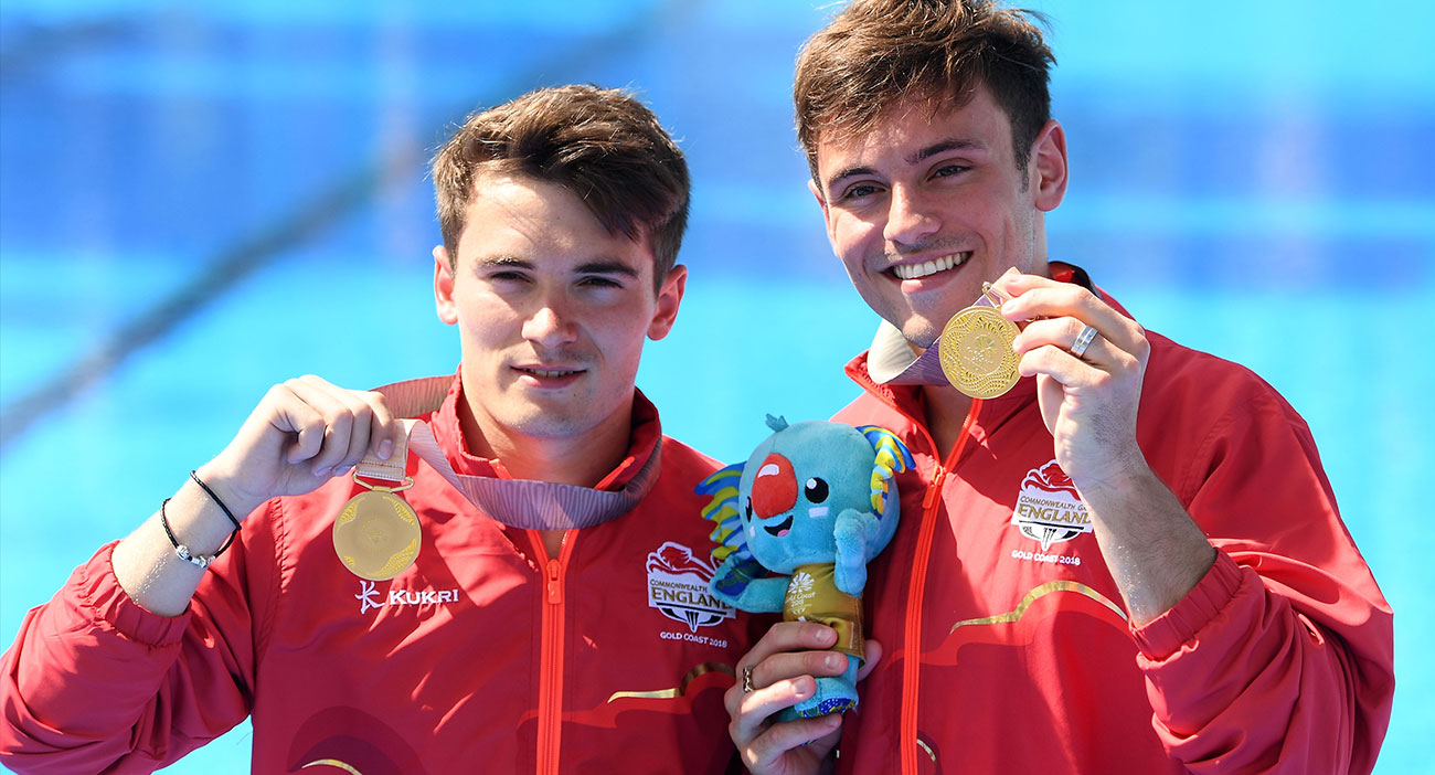 Gold medallists Daniel Goodfellow and Tom Daley of England during the synchronised 10m platform medal ceremony