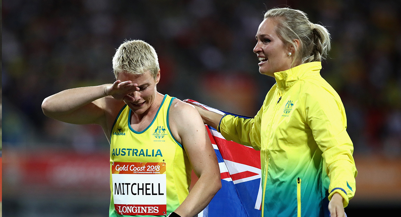Kathryn Mitchell of Australia is congratulated as she wins gold by silver medalist Kelsey-Lee Roberts of Australia in the Women's Javelin final during athletics on day seven of the Gold Coast 2018 Commonwealth Games