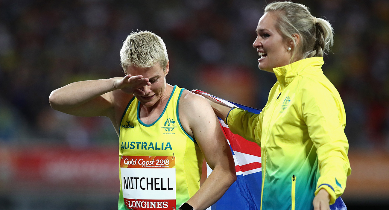 Kathryn Mitchell of Australia is congratulated as she wins gold by silver medalist Kelsey-Lee Roberts of Australia in the Women's Javelin final.