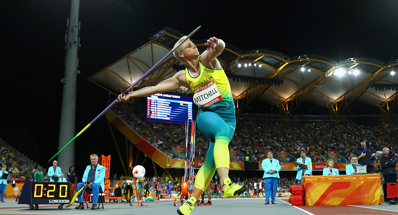 Kathryn Mitchell of Australia throws the javelin in the Women's Final