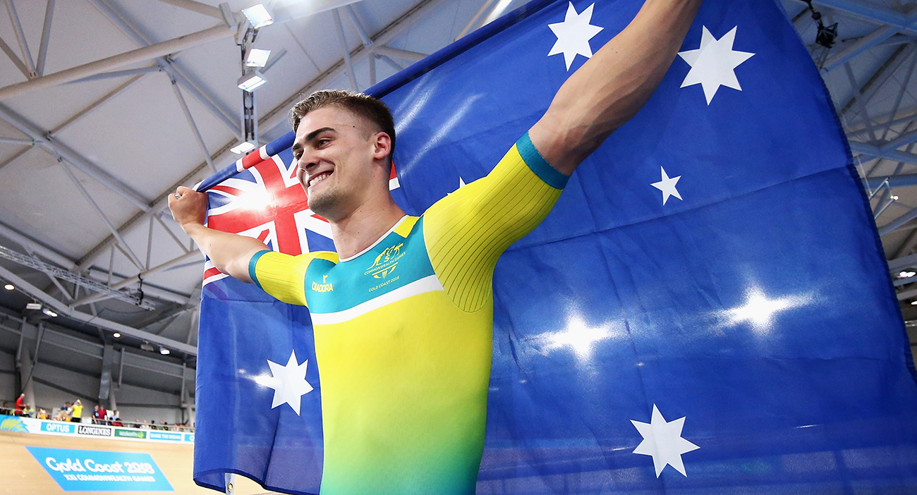 Matt Glaetzer of Australia celebrates a games record time after he competes and wins the Men's 1000m Time Trial track cycling.