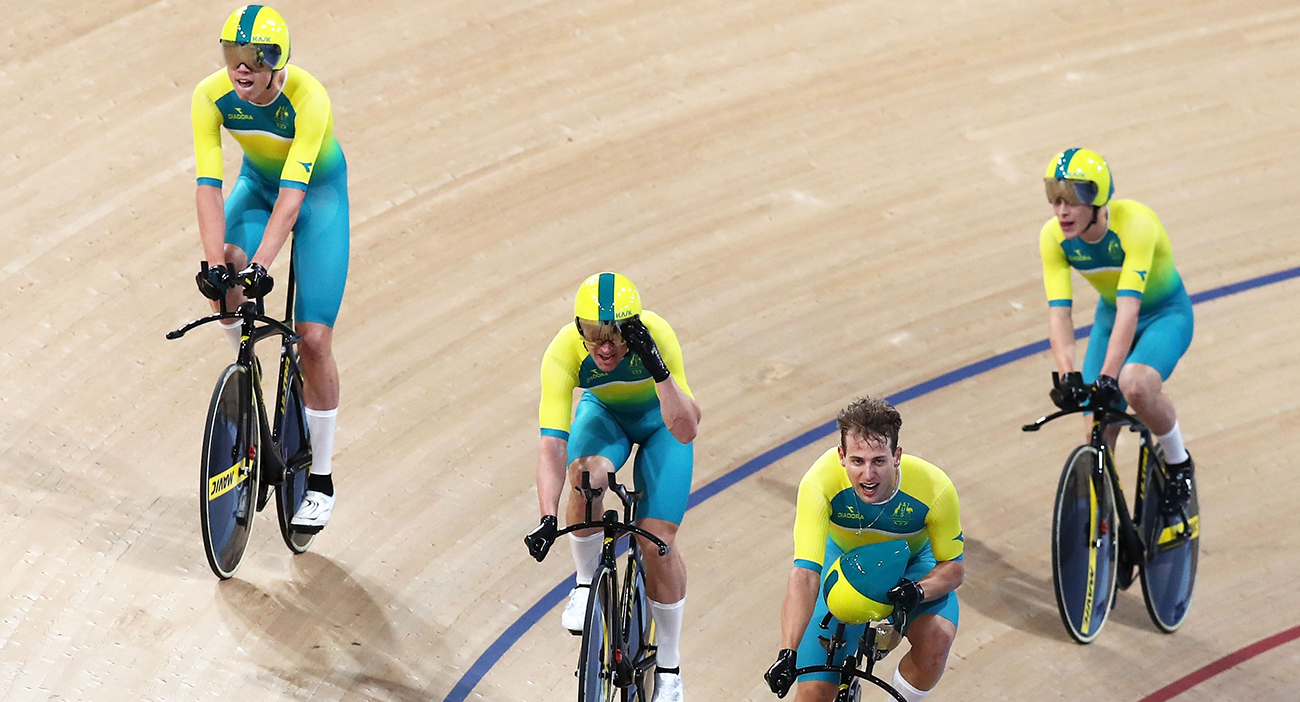 Men's 4000m Team Pursuit Final during the Track Cycling. Australia celebrates.