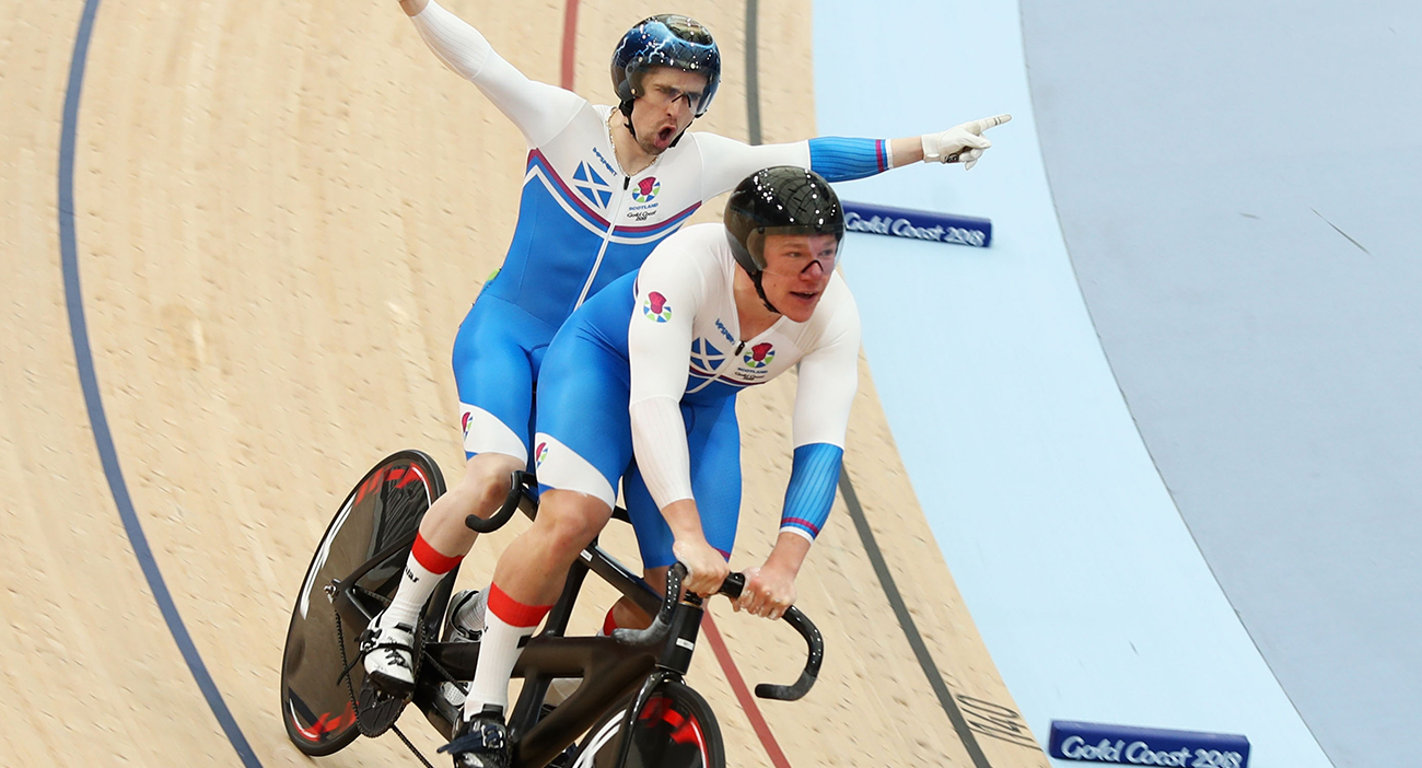 Neil Fachie of Scotland and pilot Matt Rotherham set the world record in the Men's B&VI Sprint Qualifying during Cycling.