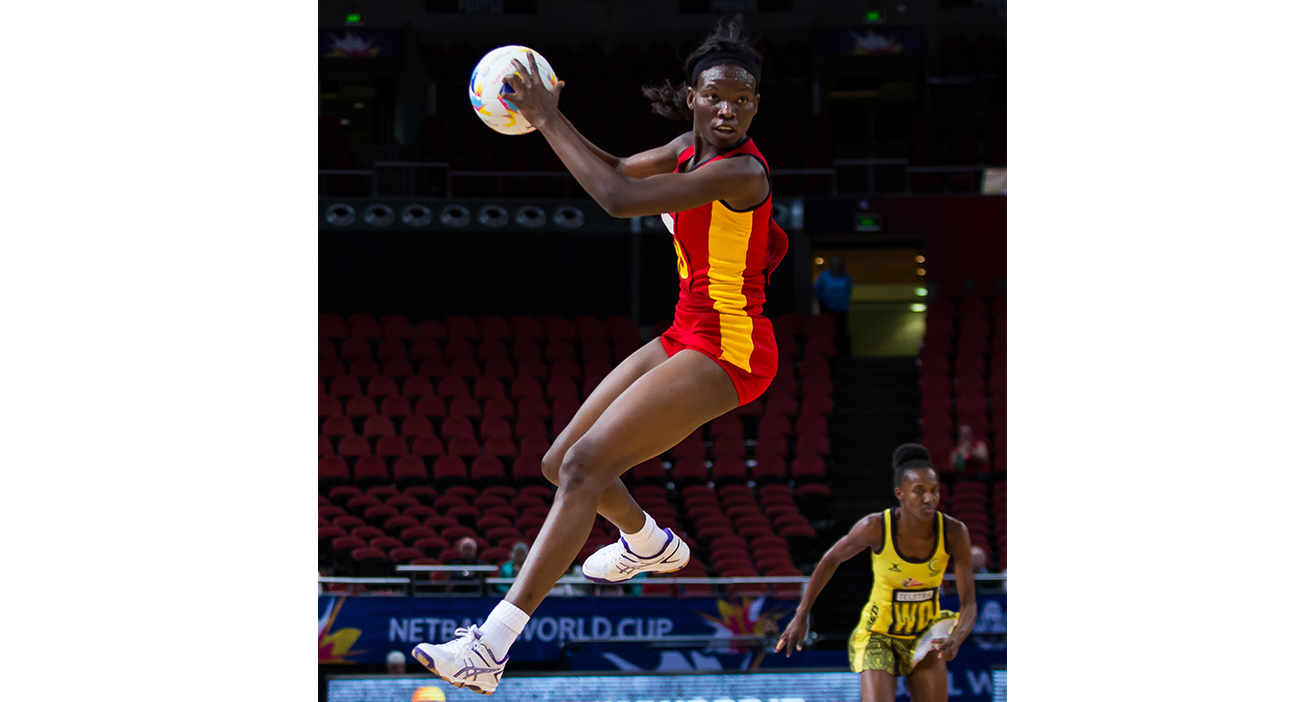 Peace Proscovia in action during the 2015 Netball World Cup.