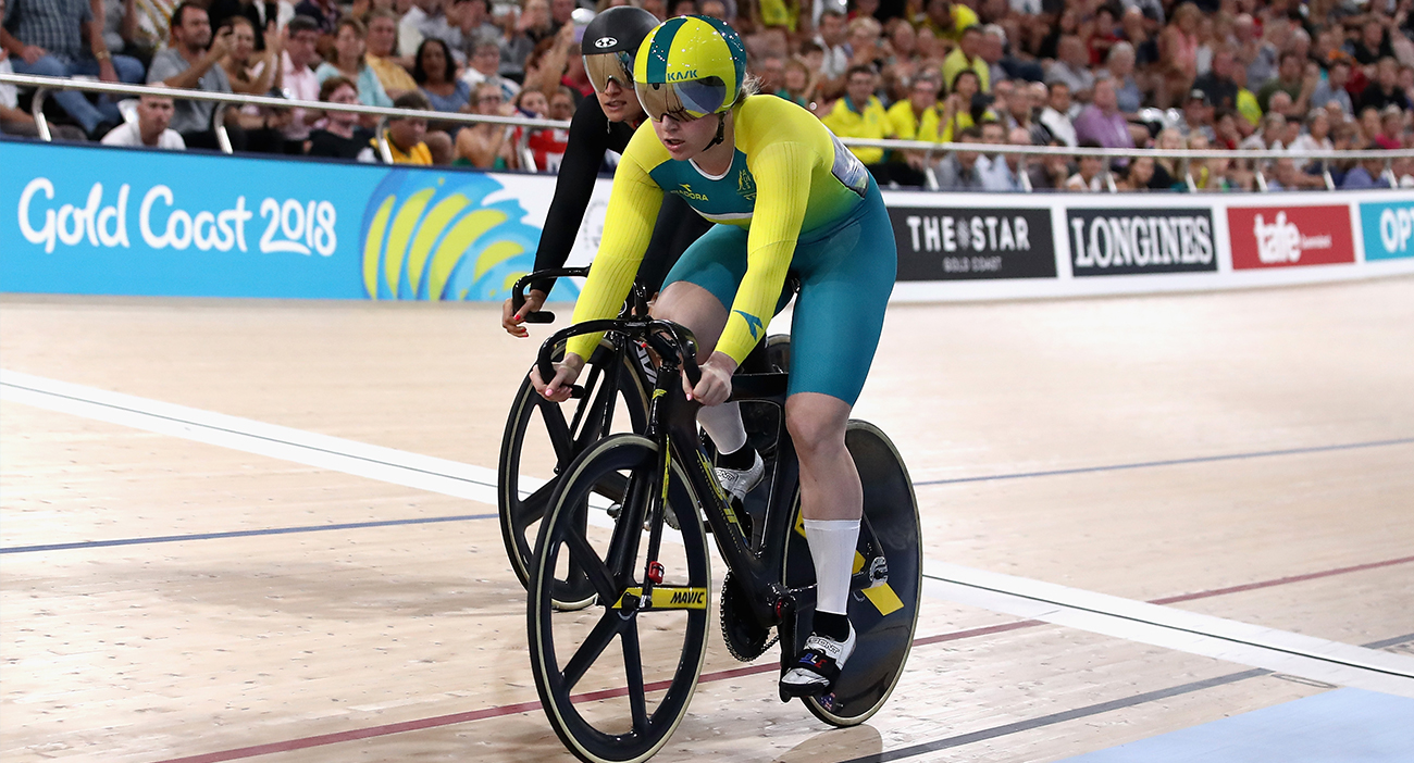 Stephanie Morton of Australia and Natasha Hansen of New Zealand compete in the Women's Sprint Gold final.