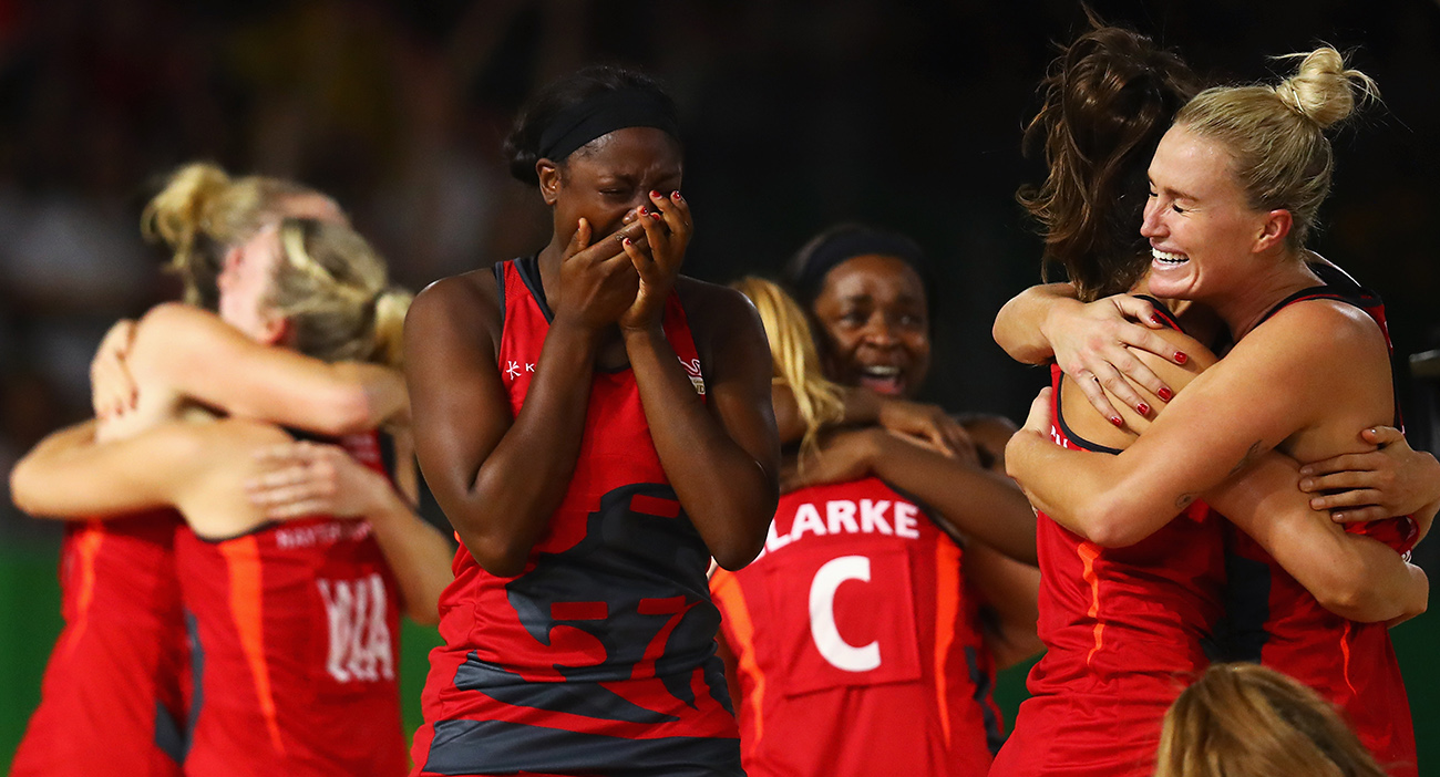 The England team celebrate vicotry after their Netball Semifinal match