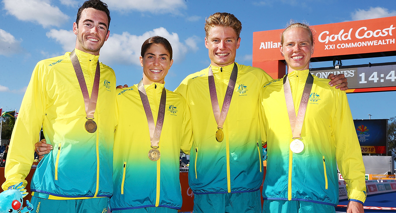 Australian Triathlon mixed relay team celebrate their gold medals.