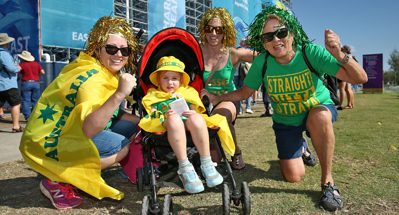 Spectators at the Optus Aquatic Centre decked out in their green and gold in support of the Australian swimmers.
