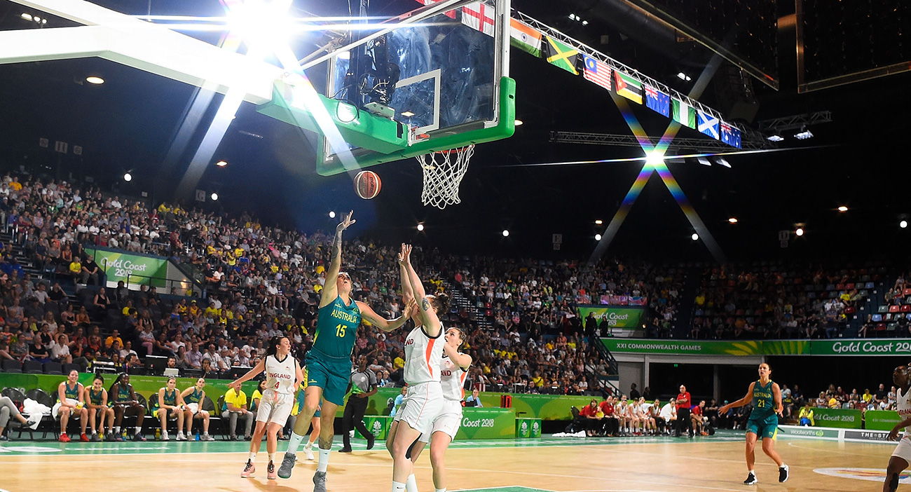 Cayla George attempts a layup against England
