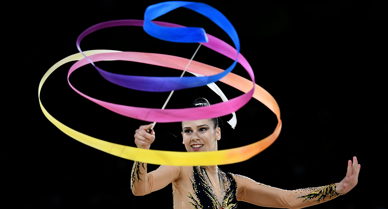 Diamanto Evripidou of Cyprus competes in the ribbon apparatus