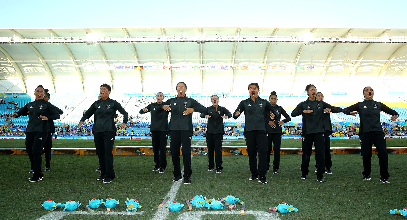 Gold medalists New Zealand perform a Haka during the medal ceremony for the Women's Gold Medal Rugby Sevens