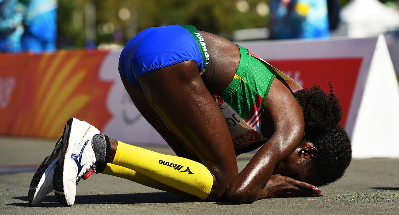 Helalia Johannes celebrates her win in the women's marathon