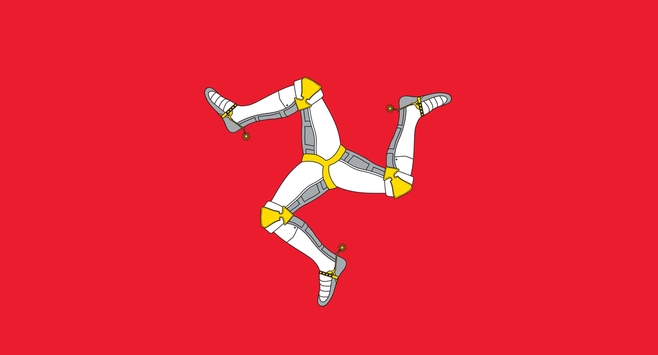 The Isle of Man flag features a triskelion, composed of three armoured legs with golden spurs, upon a red background. It has been the official flag of the island since 1932 and is based on the Manx coat of arms.