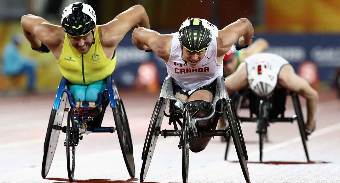 Alexandre Dupont of Canada and Kurt Fearnley of Australia race to the finish line in the Men's T54 1500m