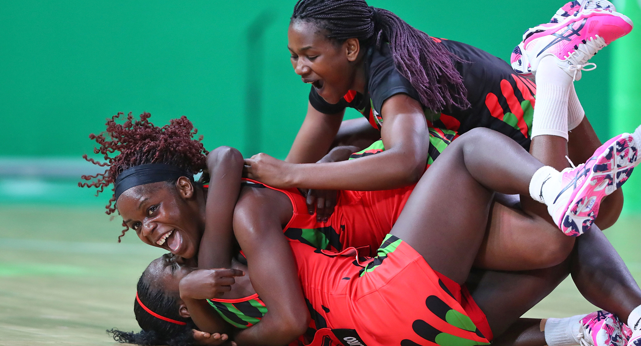 Malawi celebrate winning the Netball match between New Zealand and Malawi on day four of the Gold Coast 2018 Commonwealth Games