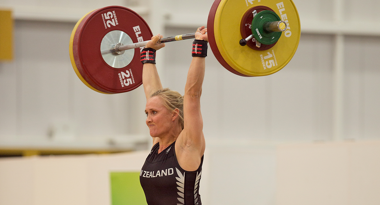 Andrea Miller competes during the 2017 Commonwealth and Oceania Weightlifting Championships.