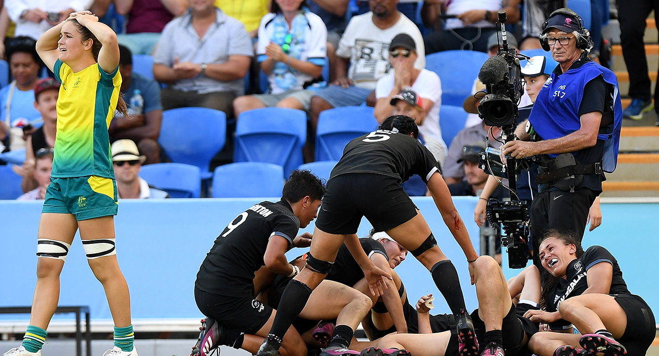 The New Zealand women's team celebrates