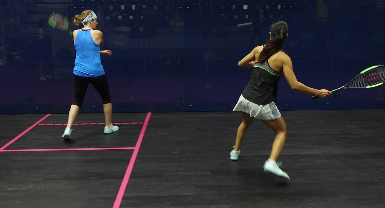 Nicol David trains in the Oxenford Studios squash courts ahead of GC2018.