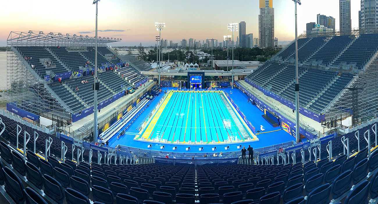 The Optus Aquatic Centre at dusk.