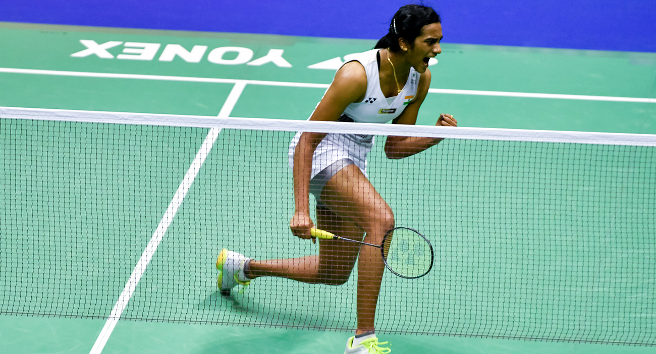P.V. Sindhu reacts during the Women's Singles Final at the Hong Kong Open 2017