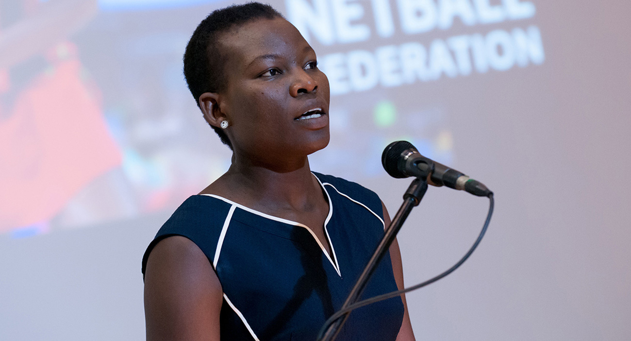 Peace Prosocvia delivers an emotional address to the International Netball Federation conference