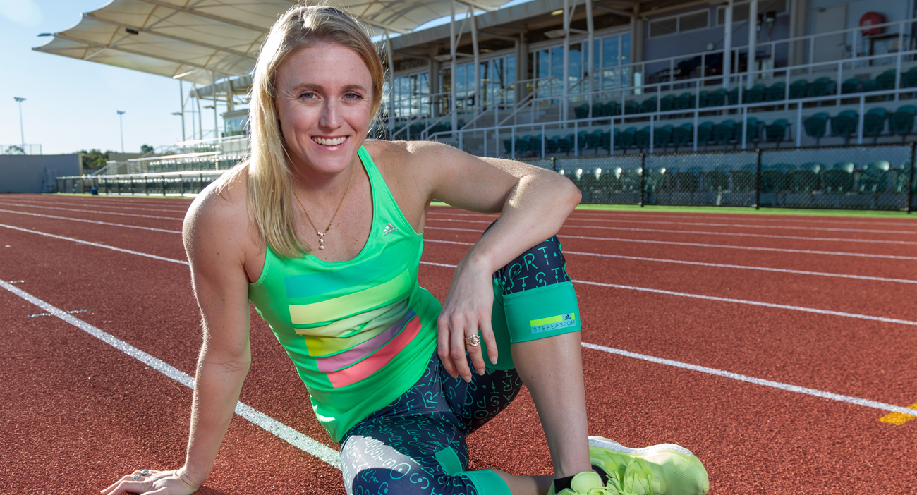 Sally Pearson sitting on the Griffith University track