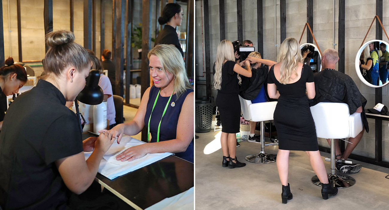Commonwealth Games Minister Kate Jones utilising the beauty treatments from TAFE QLD students.