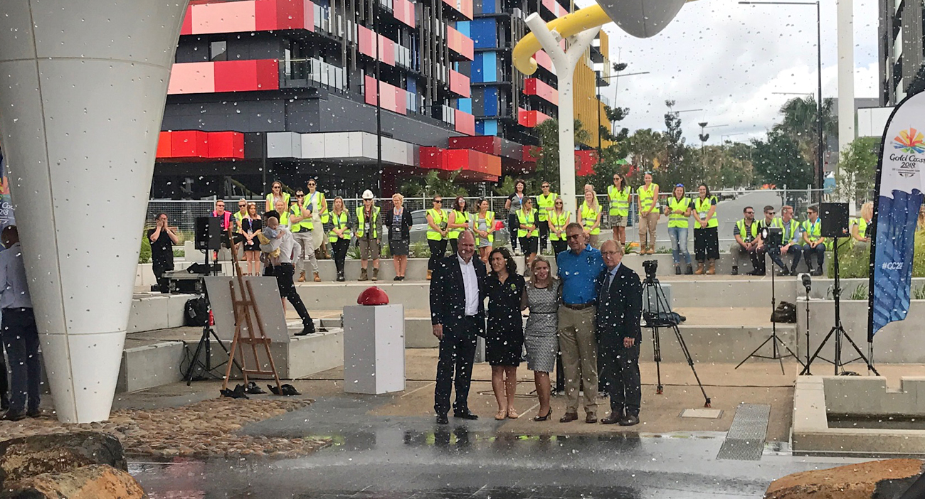 The Games Village oculus fountain was switched on for the first time by the newly appointed Commonwealth Games Village Mayors. (L-R) GOLDOC CEO Mark Peters, Sara Carrigan, Commonwealth Games Minister Kate Jones, Mark Stockwell, GOLDOC Chairman Peter Beattie.