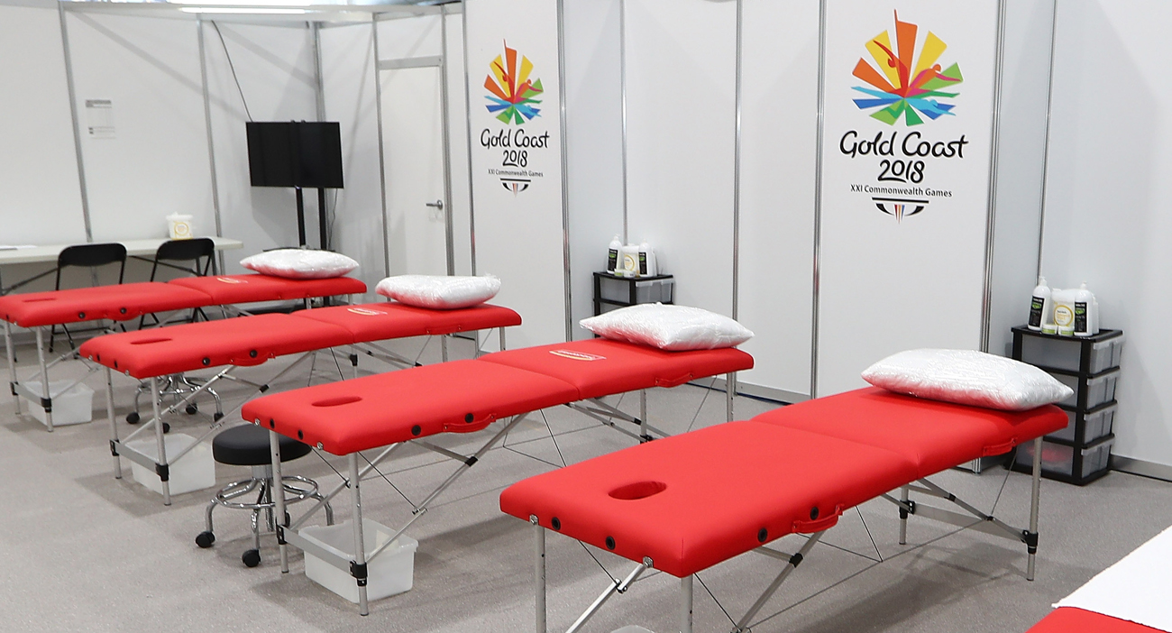 Massage room at the GC2018 Village